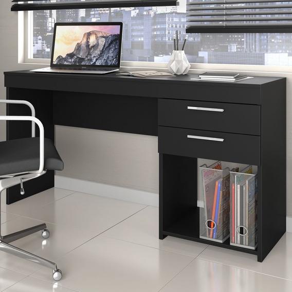 Mesa Home Office P/ Escritório 02 Gavetas Notável Preto