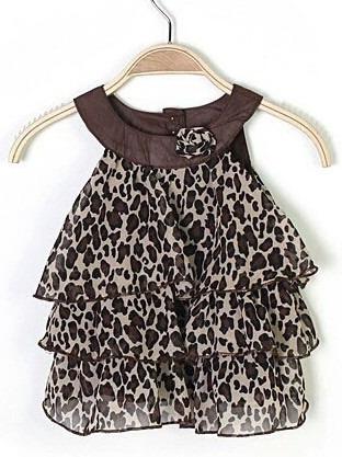 Hermoso Vestido Casual Bebe Niña Animal Print 0 A 3 Meses