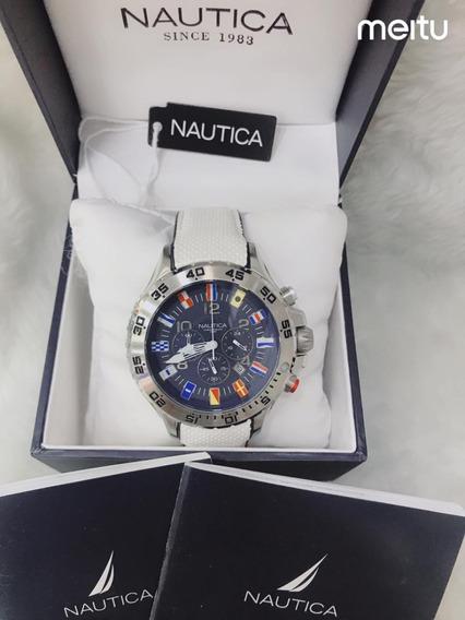 Relógio W76p Azul - Branco Nautica Couro N16695g Oferta