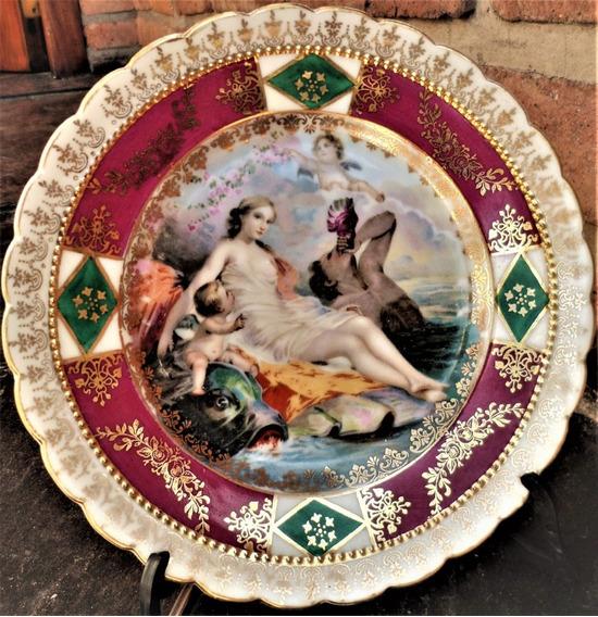 Antiguo Plato Porc Viejo Viena Oro Imperial Escena Mitológic