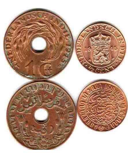 2 Monedas Diferentes De India Holandesa Año 1945, Oferta