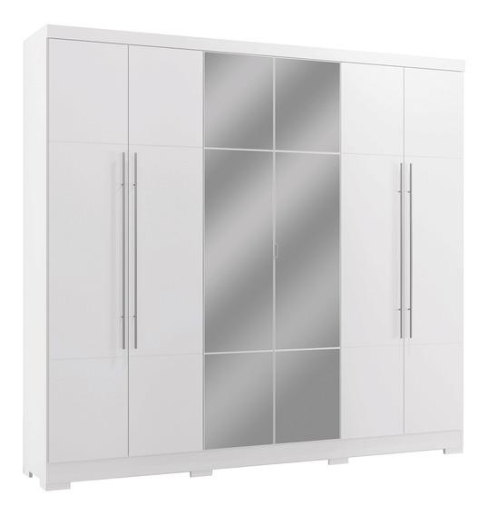 Guarda Roupa Casal Com Espelho 6 Portas Branco Kappesberg