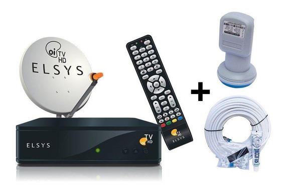 Kit Completo Oi Tv Livre Elsys + Antena Original + Cabo