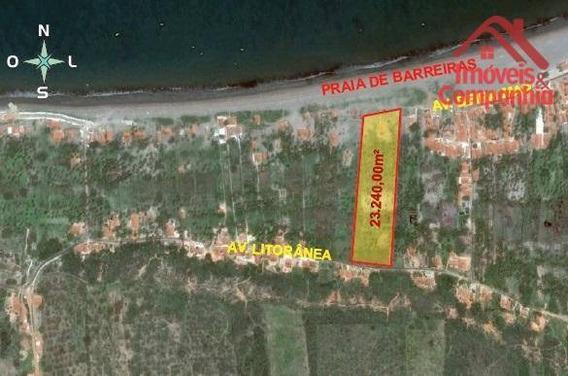 Terreno Com 23.000m2 Localizado Na Praia De Barreiras - Icapuí Ce. ? 83m De Ftrnte Para O Mar. - Te0137
