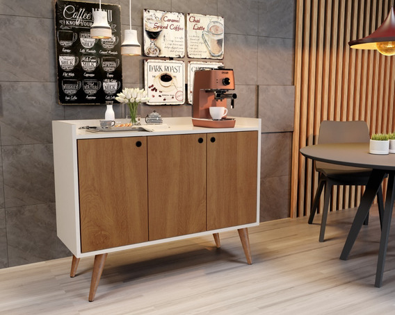 Aparador Buffet Retrô Wood Prime - Off White Freijó