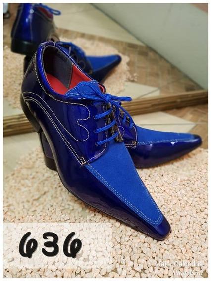 Sapato Social Masculino Azul Estampado + Broche + Frete**