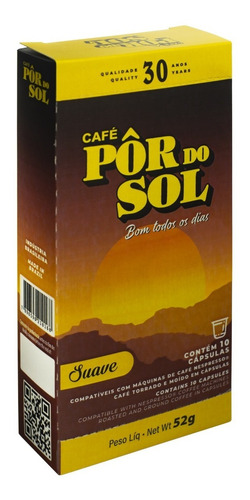 Imagem 1 de 1 de Café Pôr Do Sol Suave Cápsulas (caixa C/ 10 Unidades)