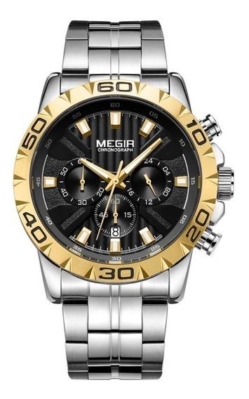 Reloj Para Hombre Cronografo Elegante Megir Original 2087g
