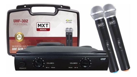 Microfone S/ Fio Profissional Duplo C/ Maleta Mxt Alcance 40