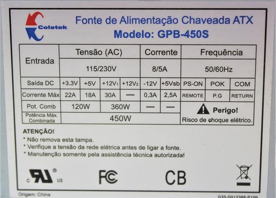 Fonte Atx C3tech 450w Gpb-450s Gpb-450s V2 Reembalada