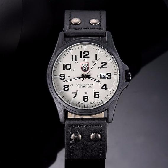 Relógio Militar Masculino Soki Pulseira De Couro Pino Duplo
