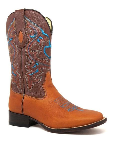 Bota Texana Masculina Bico Quadrado 100%couro Silverado