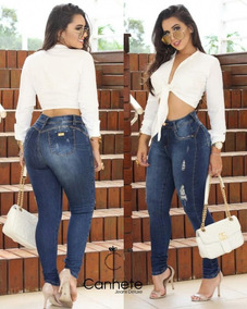 Calça Jeans Feminina Com Laycra Cintura Alta Levanta Bumbum.
