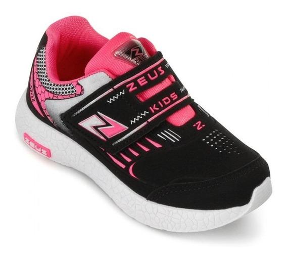 Tenis Infantil Feminino Zeus Preto/pink Extra Leve Velcro
