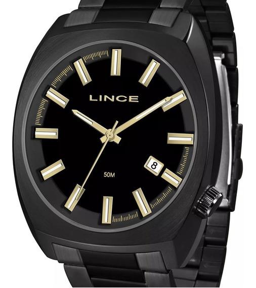 Relógio Lince Quadrado Preto Masculino Mrn4584s P1px + Nota