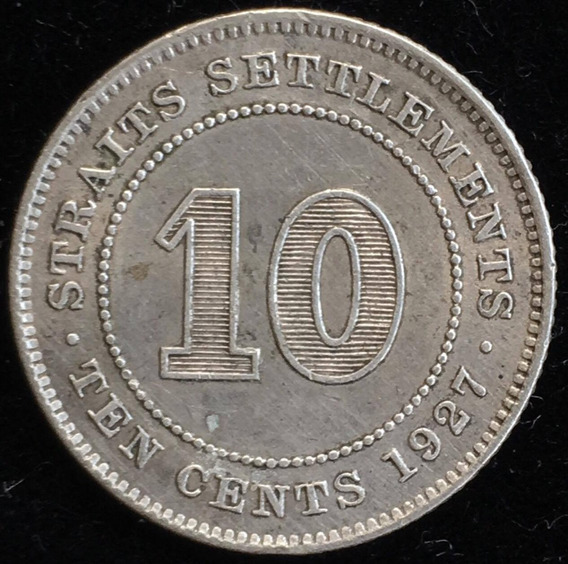 Straits Settlements, Malasia, 10 Cents, 1927. Plata. Vf+
