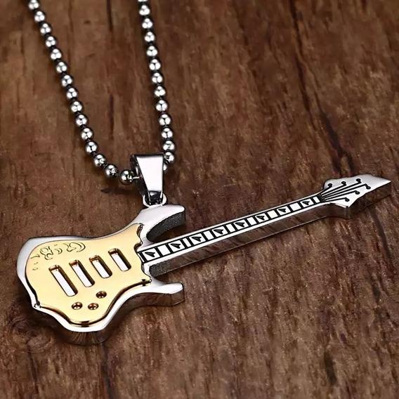 Lindo Colar Cordão Pingente Guitarra Em Aço Inoxidável Top