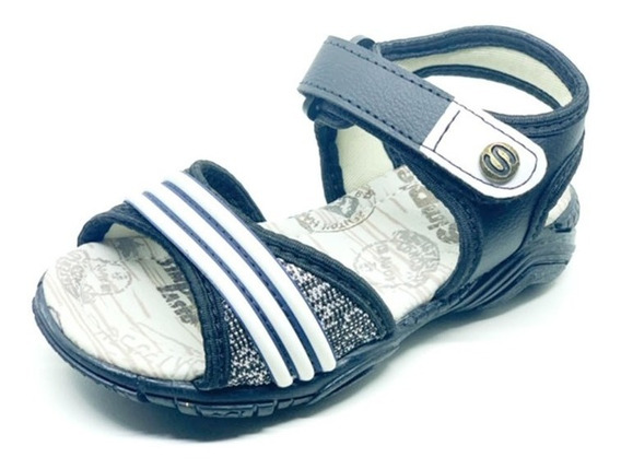 Sandália/papete Infantil Masculina Preta Velcro