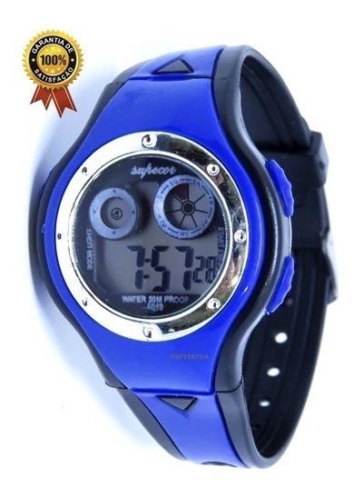 Relógio Infantil Digital Original Azul Luz Alarme Shock Top