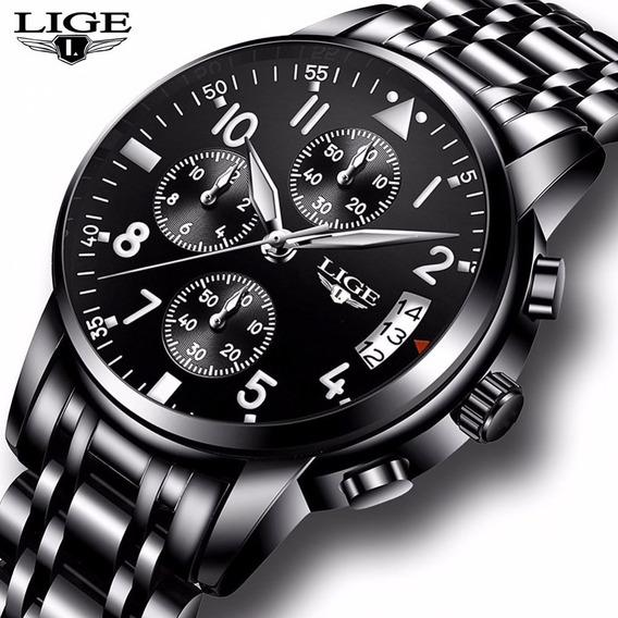 Relógio Lige 9825 Silver Black Aço Luxo Cronometro + Brinde