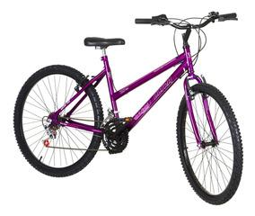 Bicicleta Lilás Aro 26 18 Marchas Aço Pro Tork Ultra