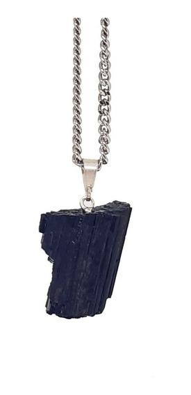 Colar De Pedra Natural Bruta Turmalina Negra Cristal Talismã