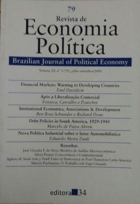 Revista De Economia Política Vol. 20 Nº3 Paul Davidson /fon
