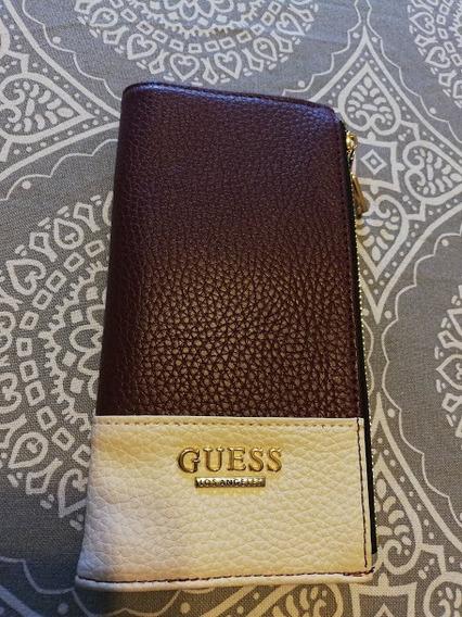 Billetera Mujer Guess Cuero Doble Cierre Original Importada
