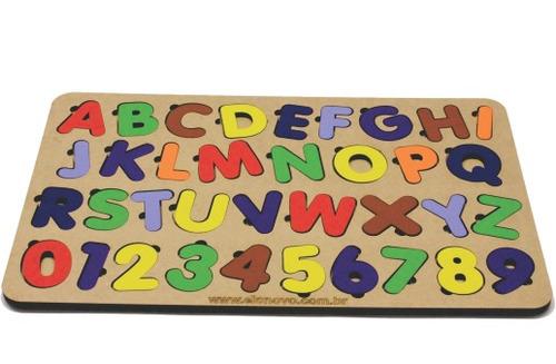 Imagem 1 de 2 de Jogo Encaixe Educativo Tabuleiro Alfabeto Número Brinquedos