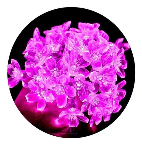 Imagen 1 de 10 de Guirnalda Luces Led Flor De Cerezo 4.5 Metros Rosa 220v