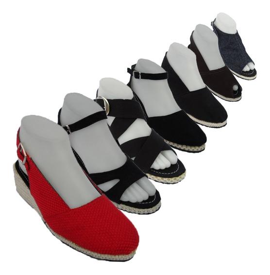 Sandalia En Plataformas O Tacón, Jeans Y Tela