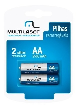 Pilha Recarregavel Multilaser Aa Com 2 Pilhas 2500mah- Cb053