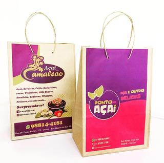 100 Sacolas Em Papel Kraft Personalizadas Com Logo 22x30x15