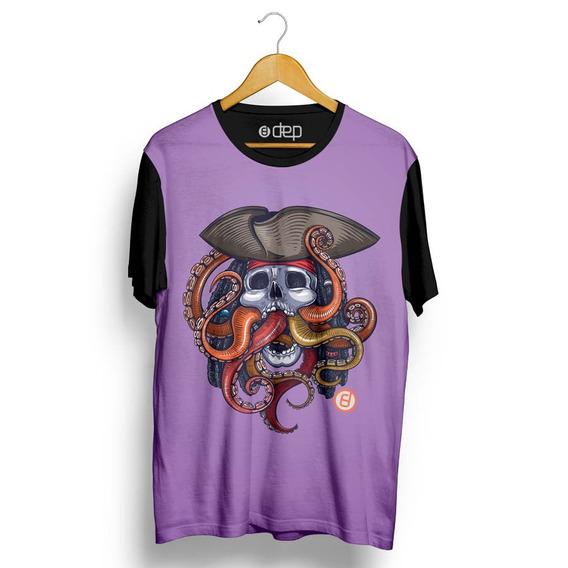 Camiseta Dep Caveira Pirata Roxa Original