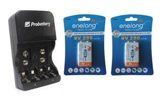 Cargador Aa Aaa 9 Volts + 2 Baterias 250mah Ni-mh 9volts