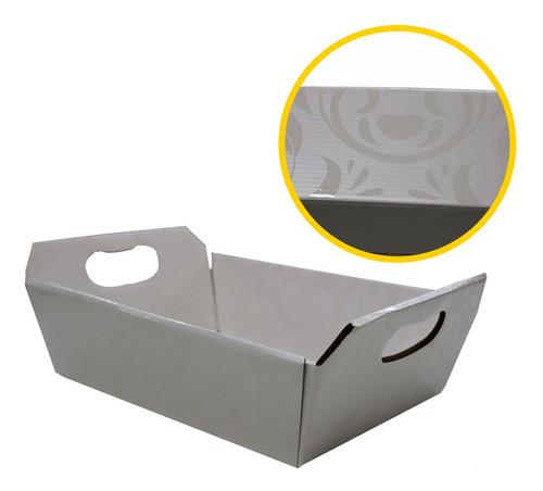 1 Cesta De Papel Decorada 30x9,5x21,5cm. Branco