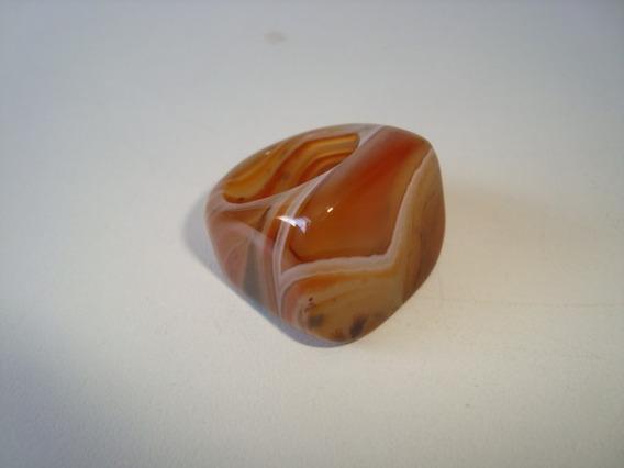 Anel Pedra Ágata Laranja Natural Polido Aro 15 - A40