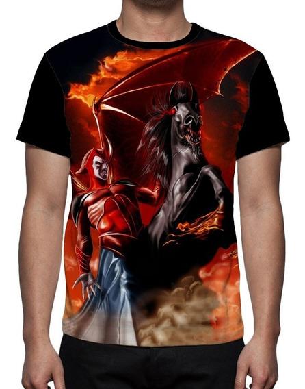 Fantasia Do Vingador Caverna Do Dragao Camisetas Preto Com