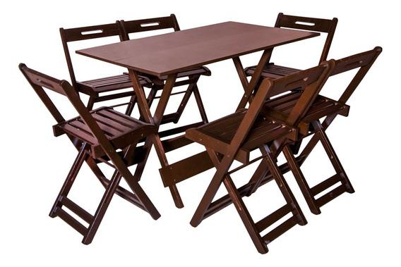 Conjunto Dobrável 120x70 Com 6 Cadeiras
