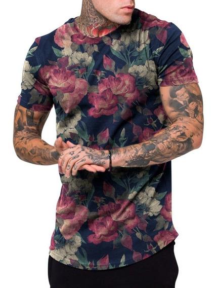 Camiseta Camisa Masculina Long Line Florido Floral Swag Top