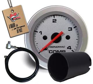 Manômetro Combustivel 52mm Mec 4kg Racing+copo E Kit Insta