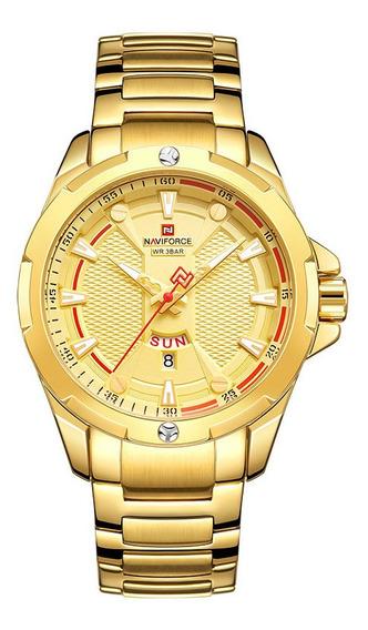 Relógio Masculino Dourado Militar Naviforce Original Luxo