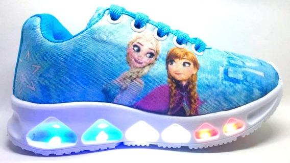 Tenis Infantil De Led Menina Frozen Lançamento Promoção