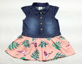 Vestido Bebê Da Puc Jeans E Malha - Tam. 1 Ano - Cód. 2627