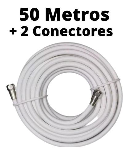 Imagen 1 de 2 de Rollo 50 Metros Cable Coaxial Rg6 Blanco, Inter, Movistar