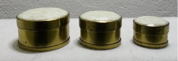Conjuntos 3 Antigos Porta Jóias De Latão