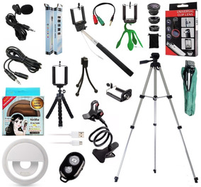 Kit Youtuber 12x1 Tripé 1,30m Microfone Lapela Celular Flash