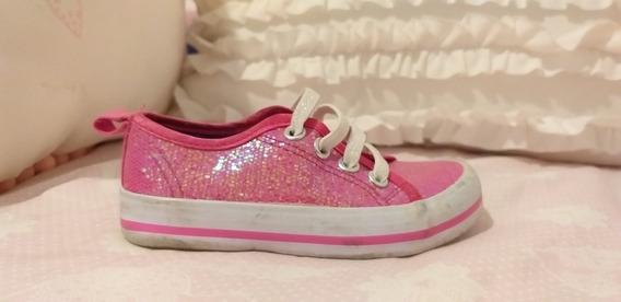 Zapatillas Disney Rosa Con Glitter