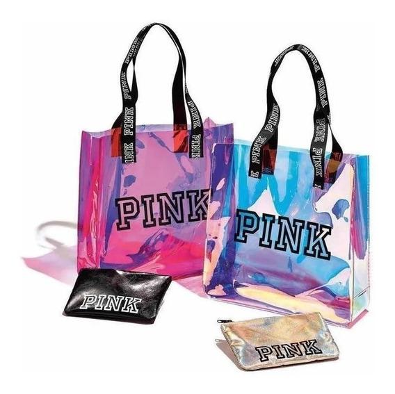 Bolso Pink Mujer Tornasolado + Porta Cosmeticos