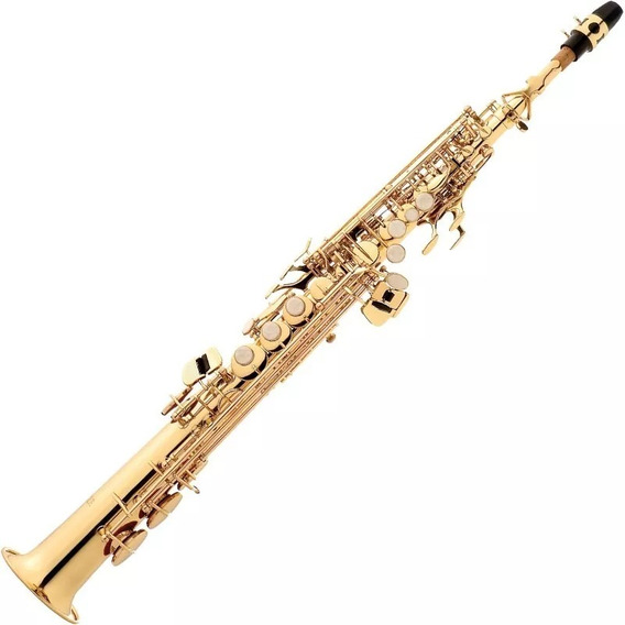Sax Soprano Eagle Sp502 Saxofone Laqueado Em Sib Com Case